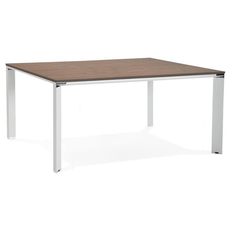 Bureau BENCH table de réunion moderne en bois pieds blancs RICARDO (160x160 cm) (noyer) - image 49704