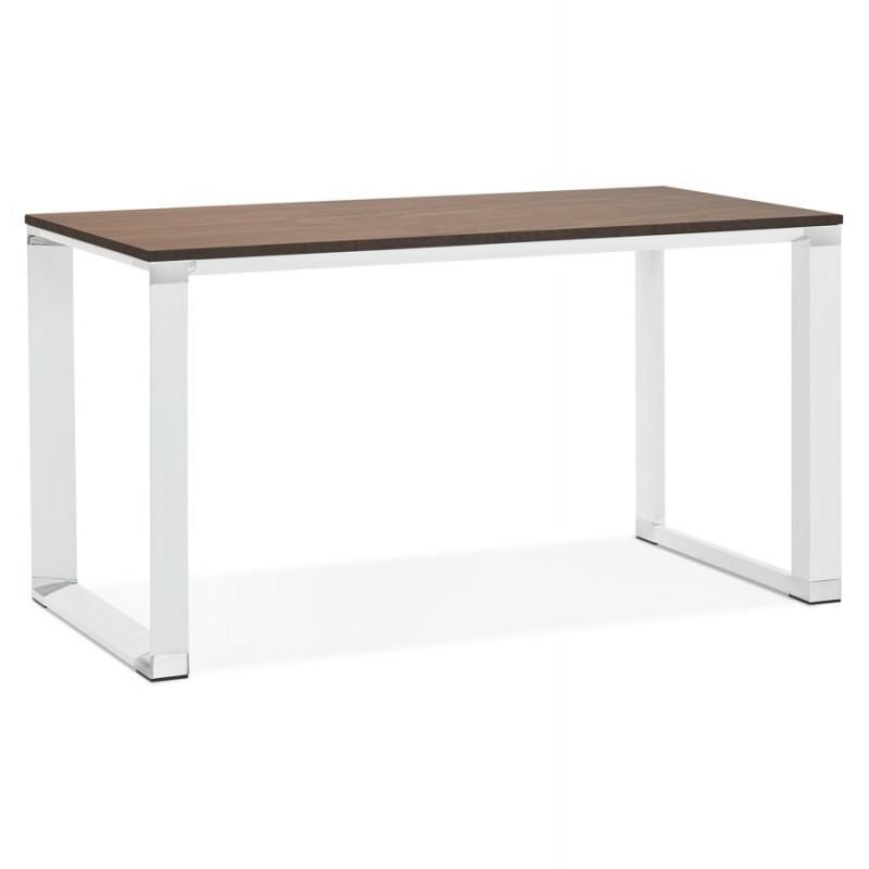 Bureau droit design en bois pieds blancs BOUNY (140x70 cm) (noyer)