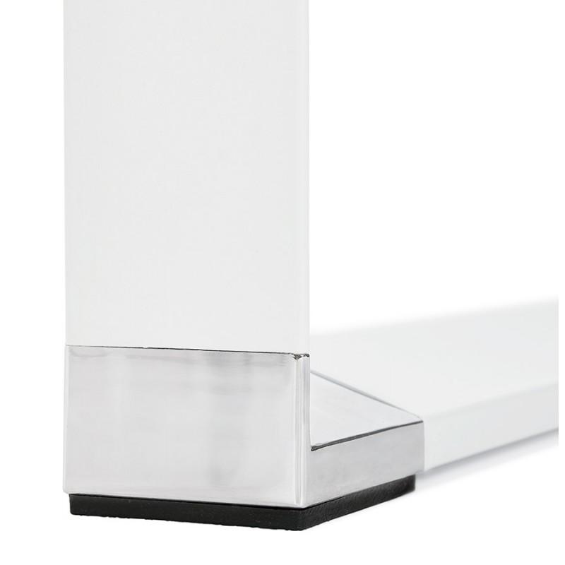 Bureau droit design en bois pieds blancs BOUNY (140x70 cm) (noyer) - image 49731