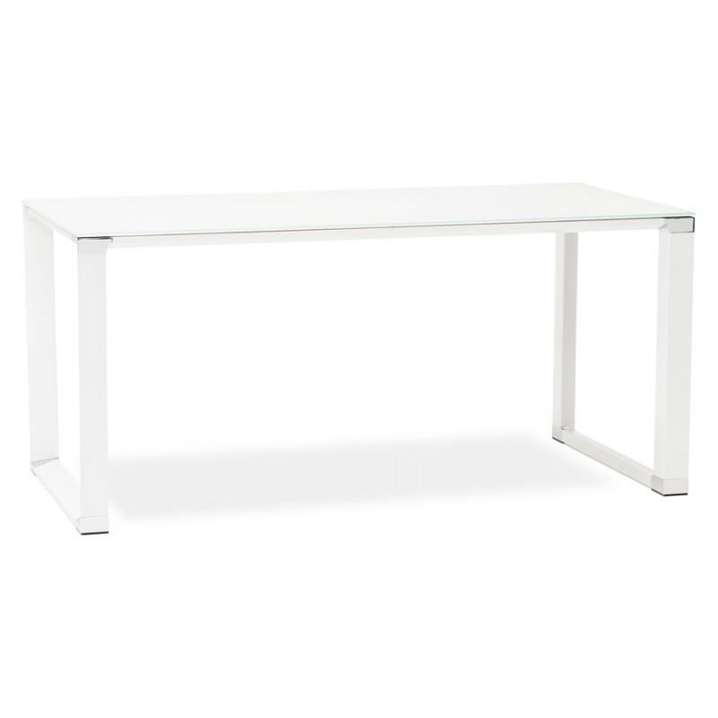 Bureau droit design en verre trempé pieds blancs BOIN (140x70 cm) (blanc)