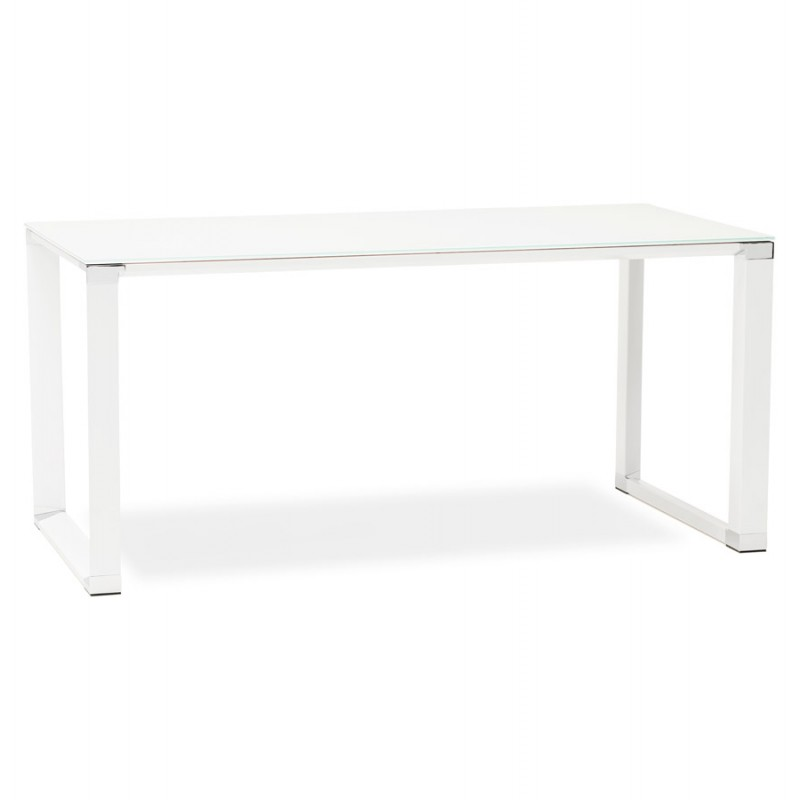 Right desk design glass soaked white feet BOIN (140x70 cm) (white)