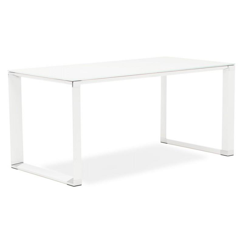 Bureau droit design en verre trempé pieds blancs BOIN (140x70 cm) (blanc) - image 49748