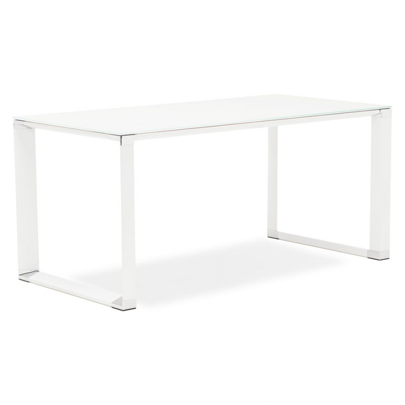 Right desk design glass soaked white feet BOIN (140x70 cm) (white) - image 49748