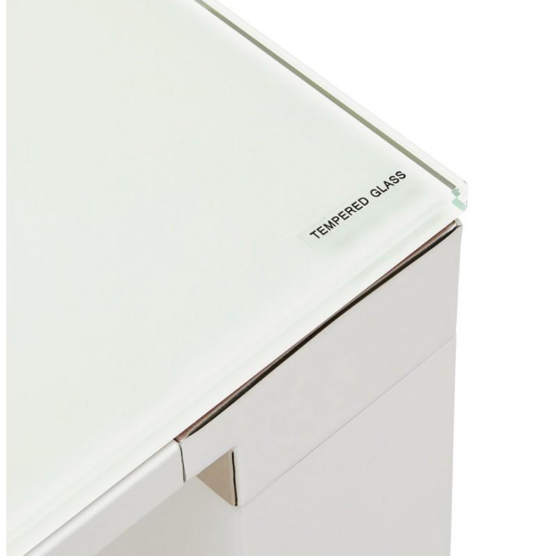 Bureau droit design en verre trempé pieds blancs BOIN (140x70 cm) (blanc) - image 49751