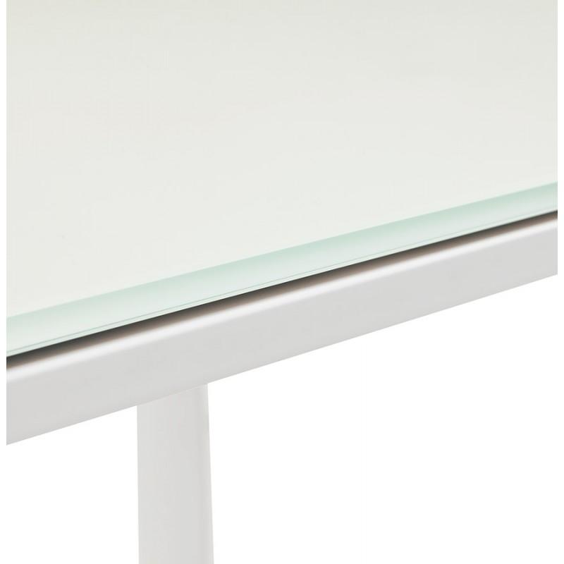 Bureau droit design en verre trempé pieds blancs BOIN (140x70 cm) (blanc) - image 49753