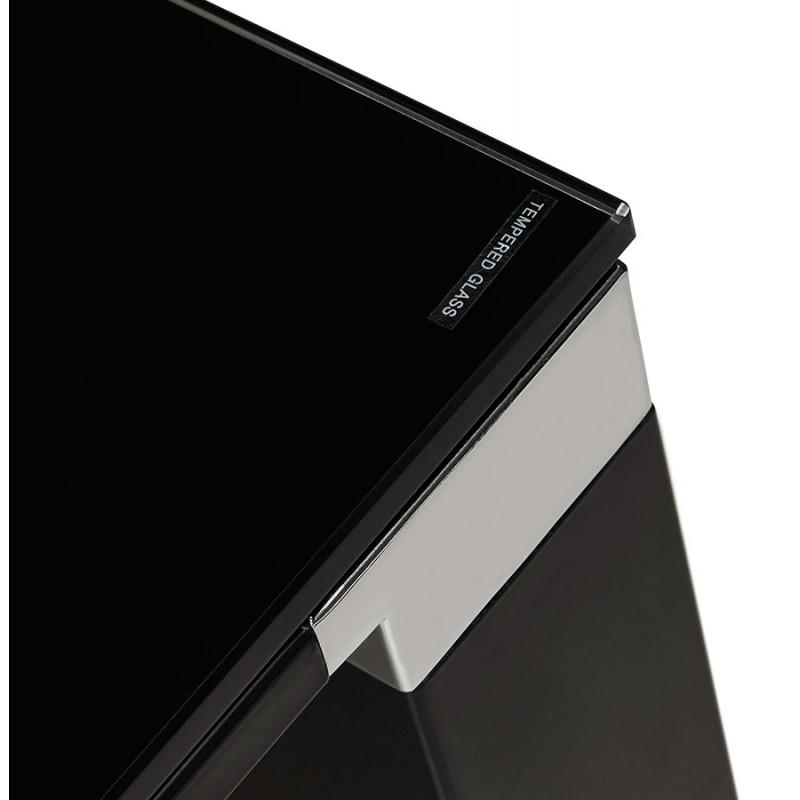 Bureau droit design en verre trempé pieds noirs BOIN (140x70 cm) (noir) - image 49760