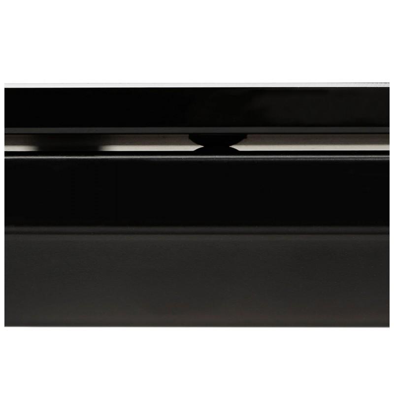 Bureau droit design en verre trempé pieds noirs BOIN (140x70 cm) (noir) - image 49762