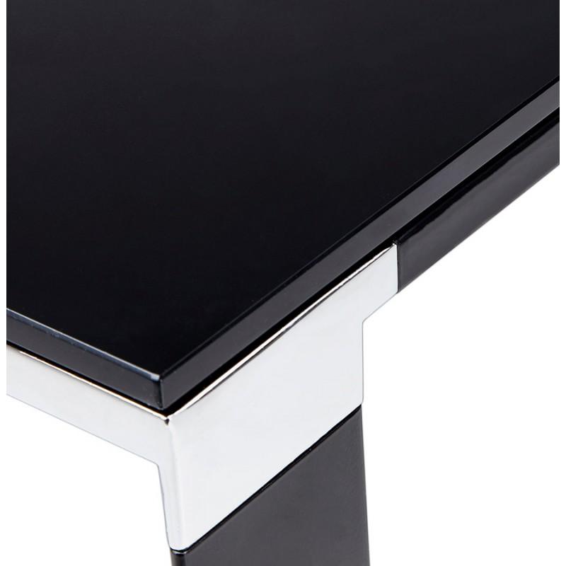 Bureau droit design en verre trempé pieds noirs BOIN (140x70 cm) (noir) - image 49763