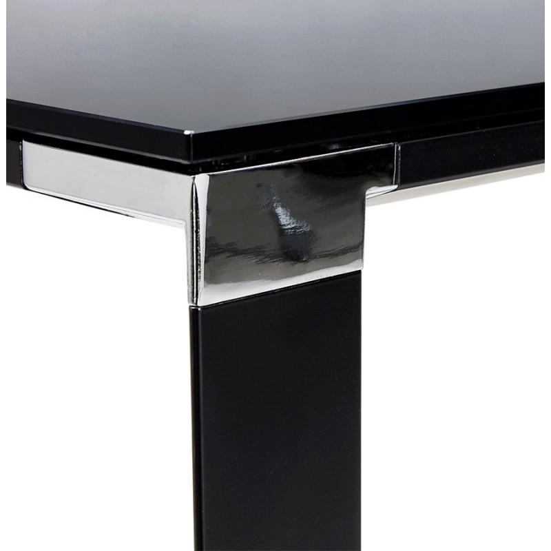 Bureau droit design en verre trempé pieds noirs BOIN (140x70 cm) (noir) - image 49764