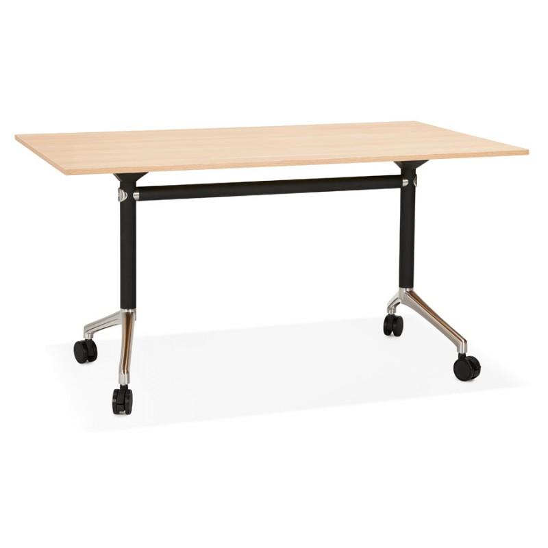 Table pliante sur roulettes en bois pieds noirs SAYA (140x70 cm) (finition naturelle) - image 49767