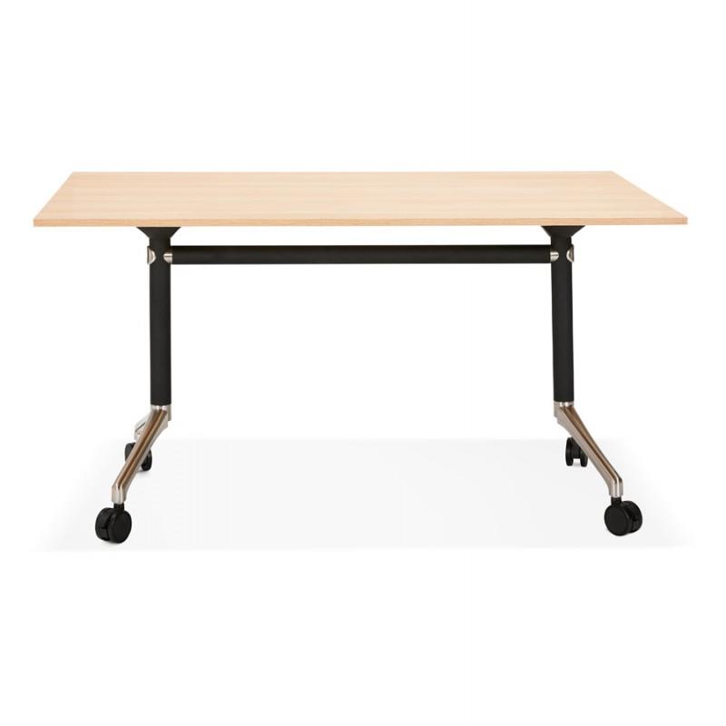 Table pliante sur roulettes en bois pieds noirs SAYA (140x70 cm) (finition naturelle) - image 49768