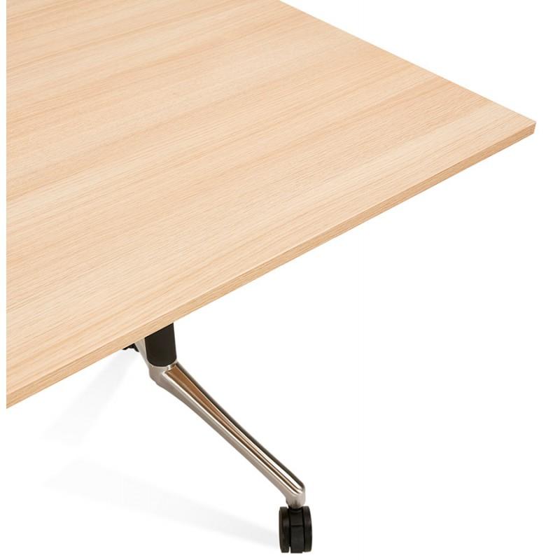 Table pliante sur roulettes en bois pieds noirs SAYA (140x70 cm) (finition naturelle) - image 49773