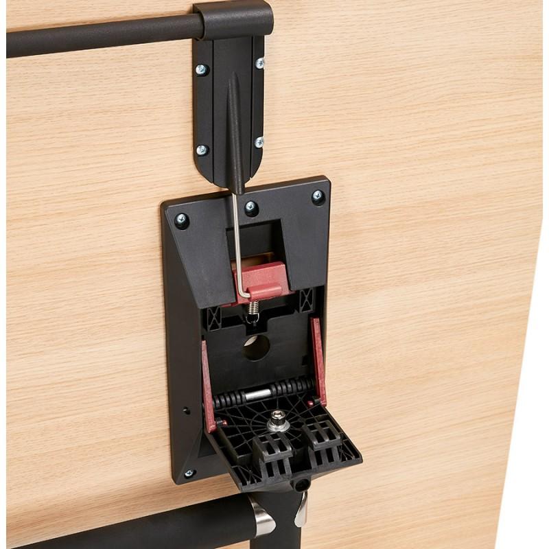 Table pliante sur roulettes en bois pieds noirs SAYA (140x70 cm) (finition naturelle) - image 49777