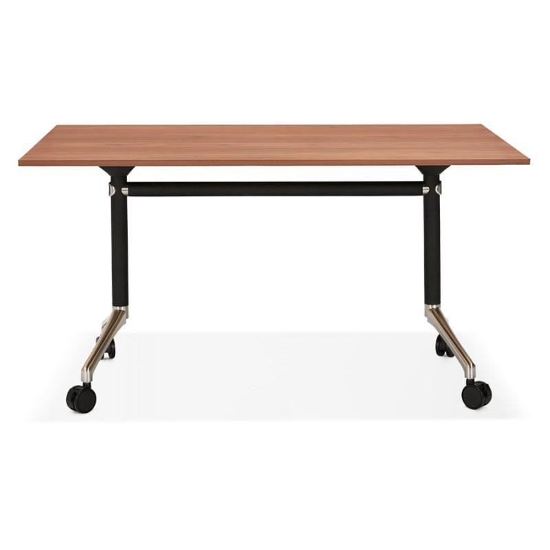 Table pliante sur roulettes en bois pieds noirs SAYA (140x70 cm) (finition noyer) - image 49781