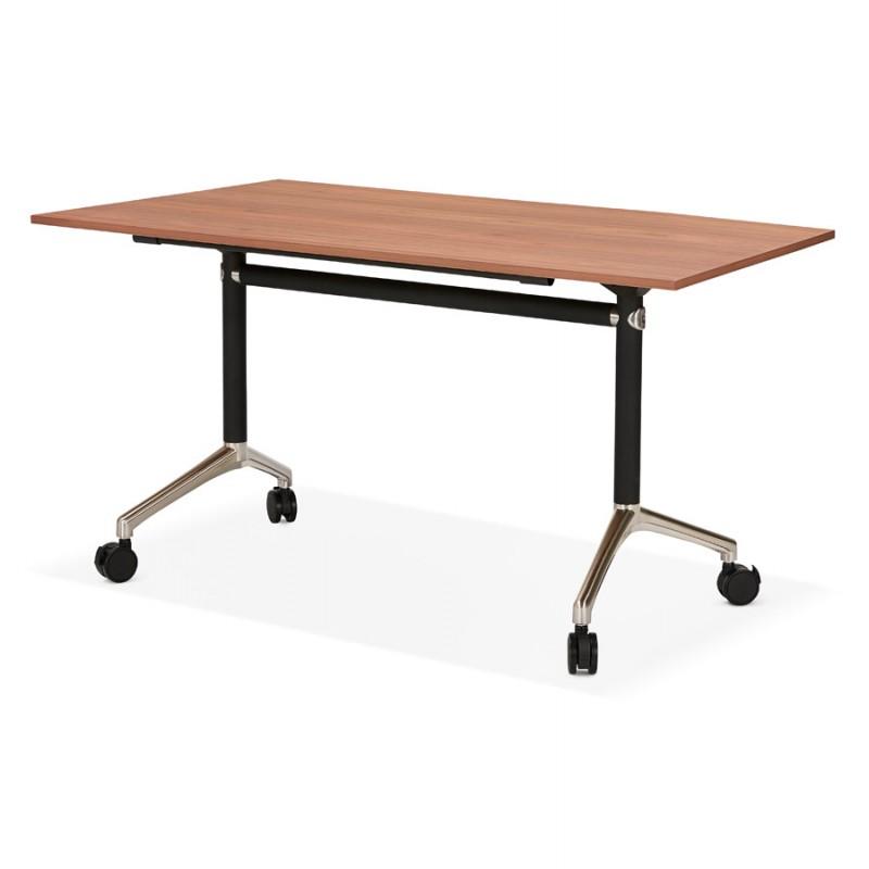 Table pliante sur roulettes en bois pieds noirs SAYA (140x70 cm) (finition noyer) - image 49783