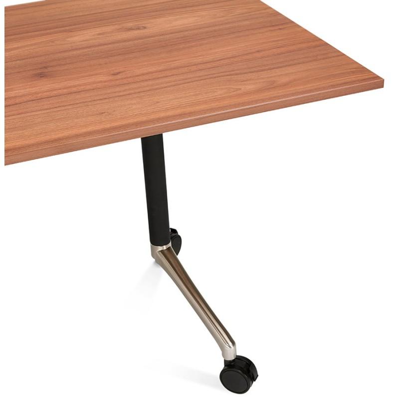 Table pliante sur roulettes en bois pieds noirs SAYA (140x70 cm) (finition noyer) - image 49787