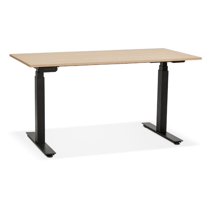 Bureau assis debout électrique en bois pieds noirs KESSY (140x70 cm) (finition naturelle)