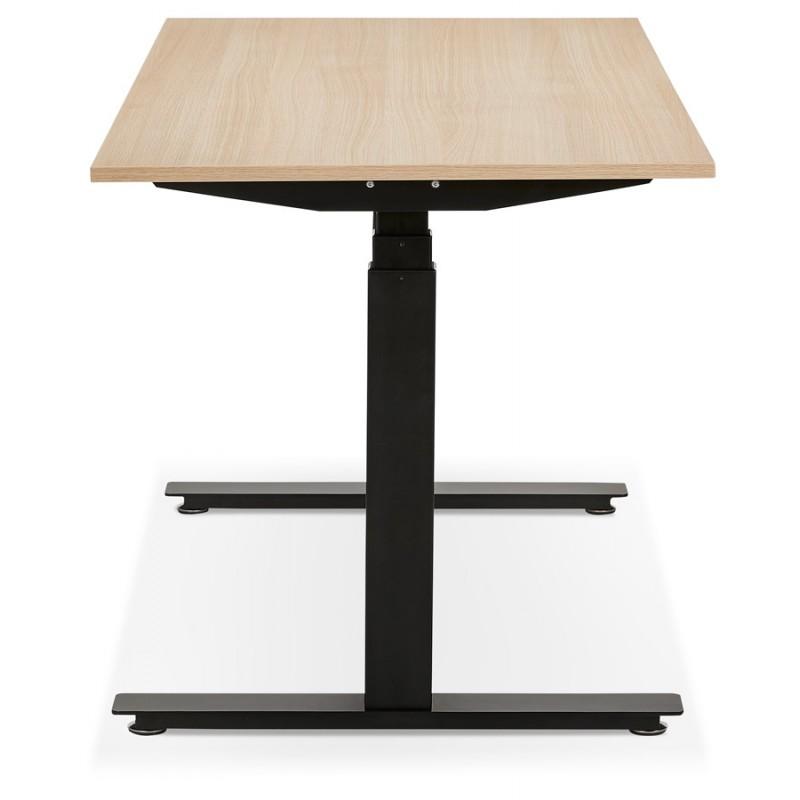 Bureau assis debout électrique en bois pieds noirs KESSY (140x70 cm) (finition naturelle) - image 49803