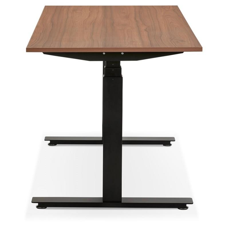 Bureau assis debout électrique en bois pieds noirs KESSY (140x70 cm) (finition noyer) - image 49811