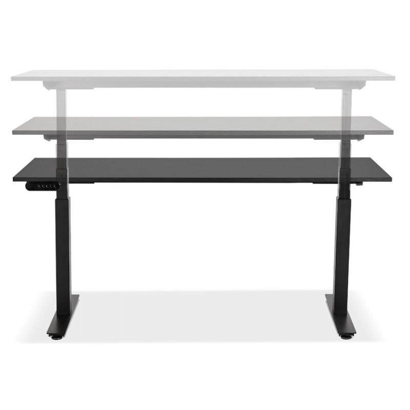 Bureau assis debout électrique en bois pieds noirs KESSY (160x80 cm) (noir) - image 49822