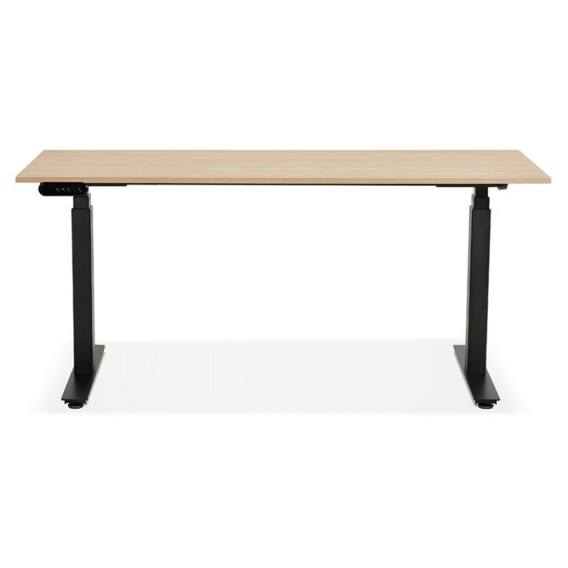 Bureau assis debout électrique en bois pieds noirs KESSY (160x80 cm) (finition naturelle) - image 49827