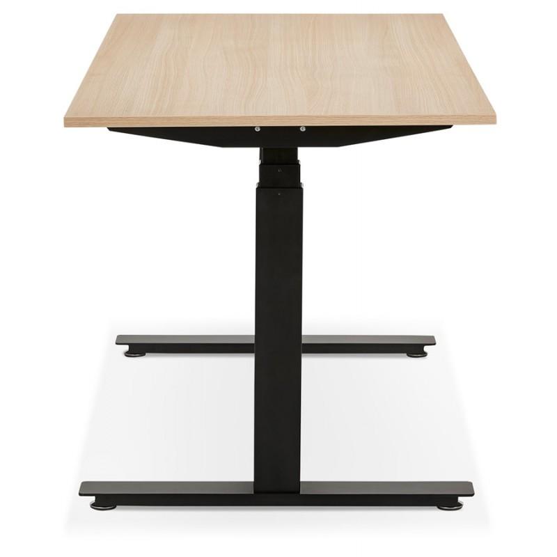 Bureau assis debout électrique en bois pieds noirs KESSY (160x80 cm) (finition naturelle) - image 49828