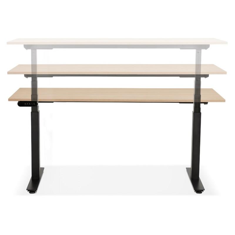 Bureau assis debout électrique en bois pieds noirs KESSY (160x80 cm) (finition naturelle) - image 49830