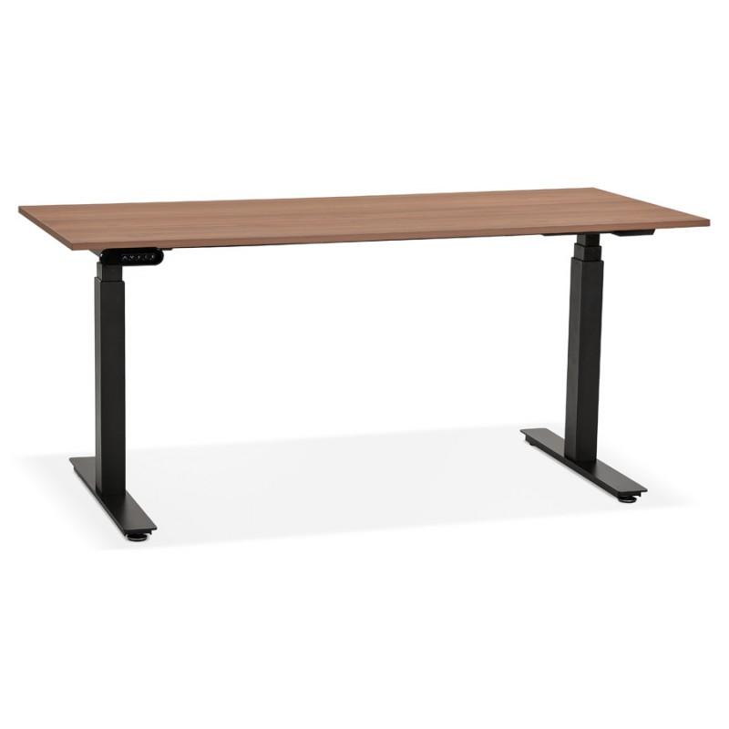 Bureau assis debout électrique en bois pieds noirs KESSY (160x80 cm) (finition noyer) - image 49834