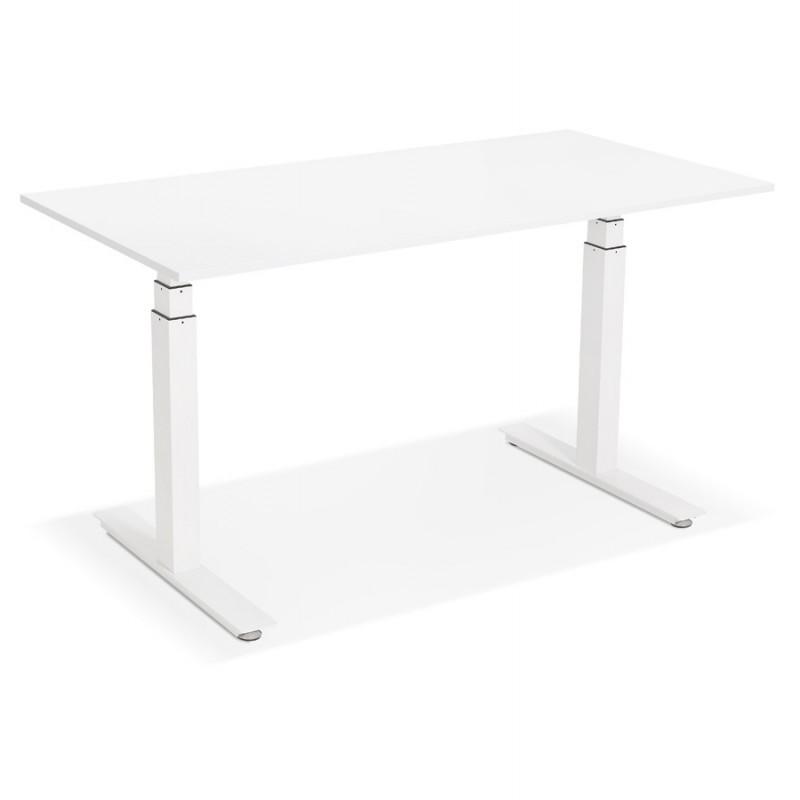 Bureau assis debout électrique en bois pieds blancs KESSY (140x70 cm) (blanc) - image 49846