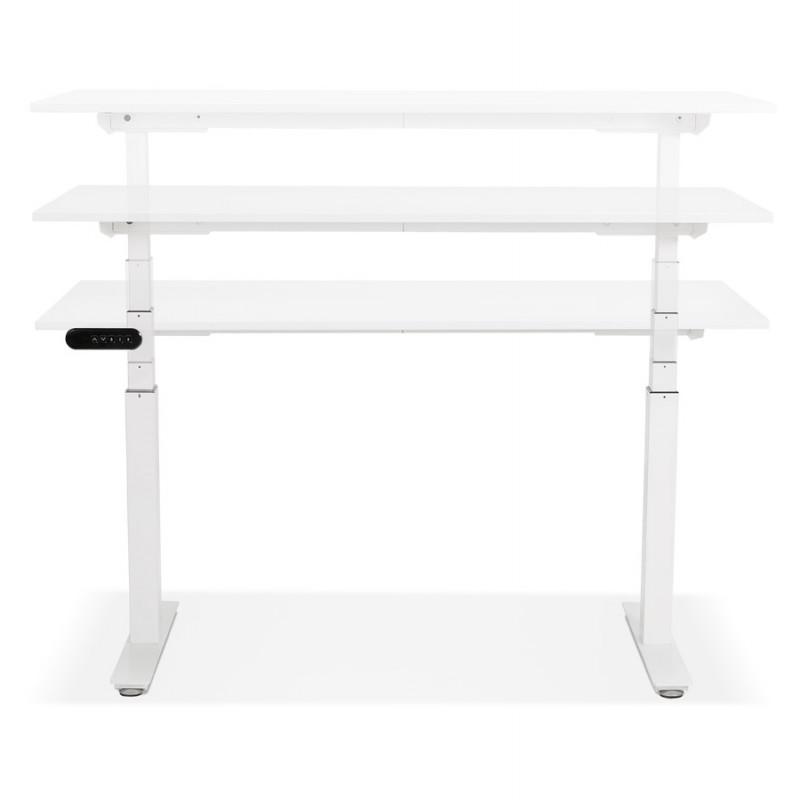 Bureau assis debout électrique en bois pieds blancs KESSY (140x70 cm) (blanc) - image 49847