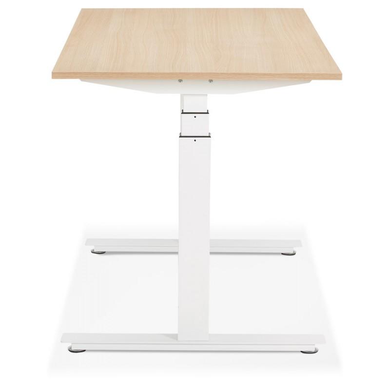 Bureau assis debout électrique en bois pieds blancs KESSY (140x70 cm) (finition naturelle) - image 49852