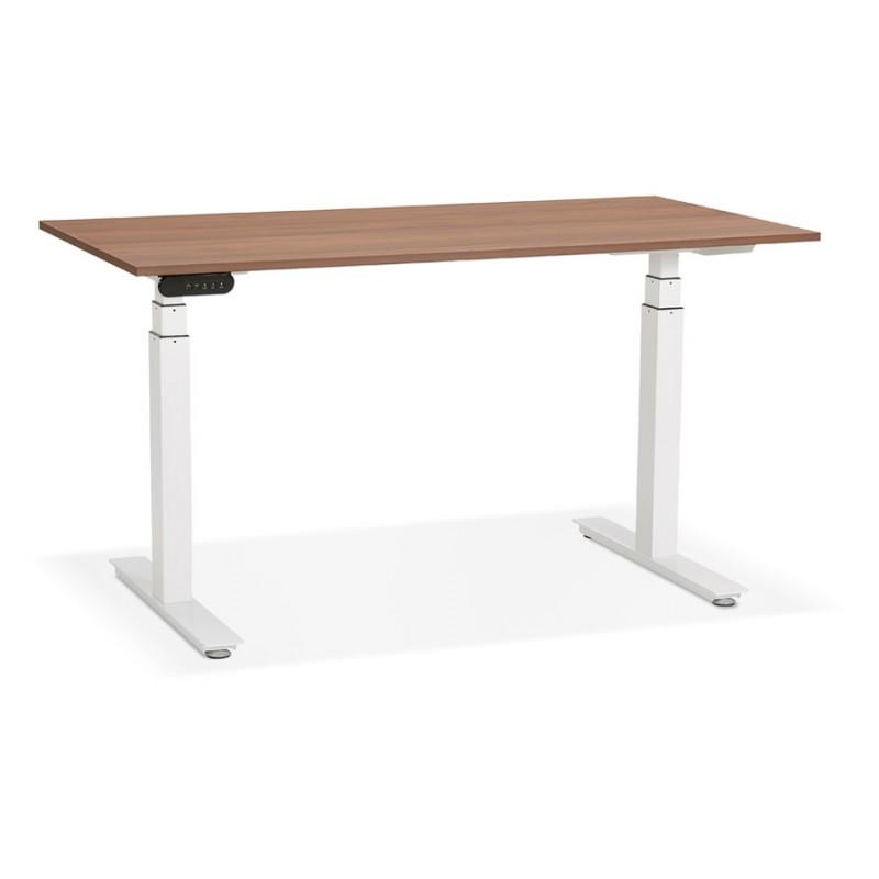 Bureau assis debout électrique en bois pieds blancs KESSY (140x70 cm) (finition noyer)