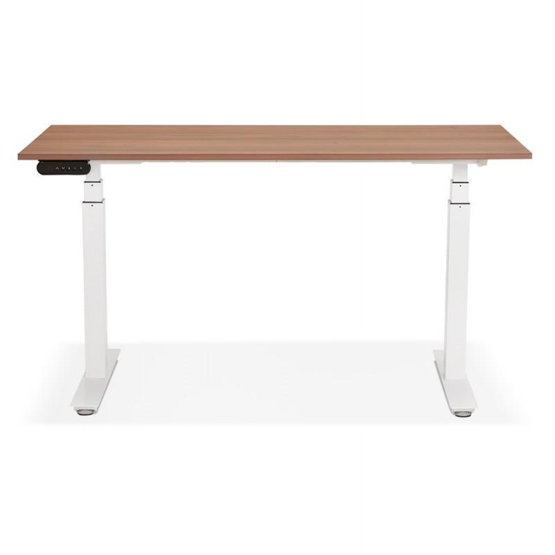 Bureau assis debout électrique en bois pieds blancs KESSY (140x70 cm) (finition noyer) - image 49859