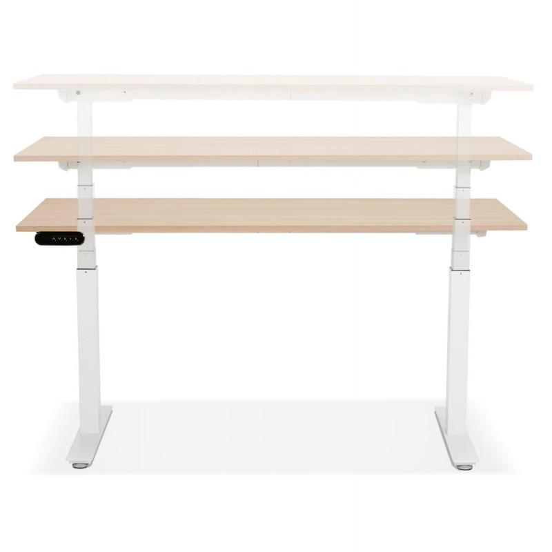 Bureau assis debout électrique en bois pieds blancs KESSY (160x80 cm) (finition naturelle) - image 49877