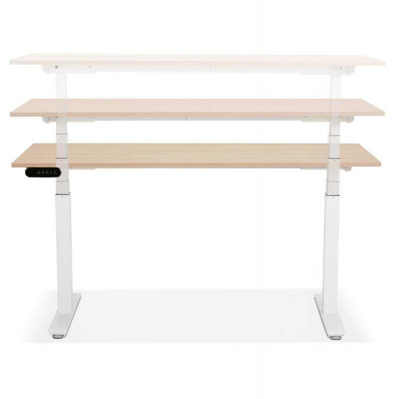 Seated standing electric wooden white feet KESSY (160x80 cm) (natural finish) - image 49877