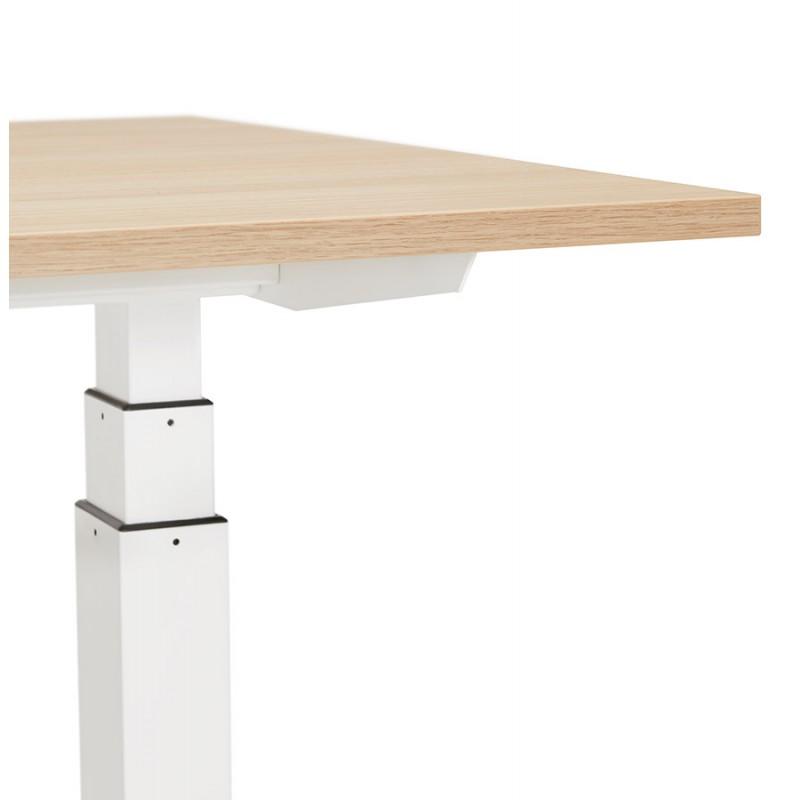Bureau assis debout électrique en bois pieds blancs KESSY (160x80 cm) (finition naturelle) - image 49878