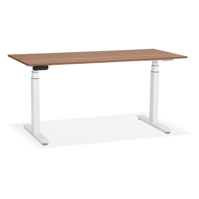 Seated standing electric wooden white feet KESSY (160x80 cm) (walnut finish)