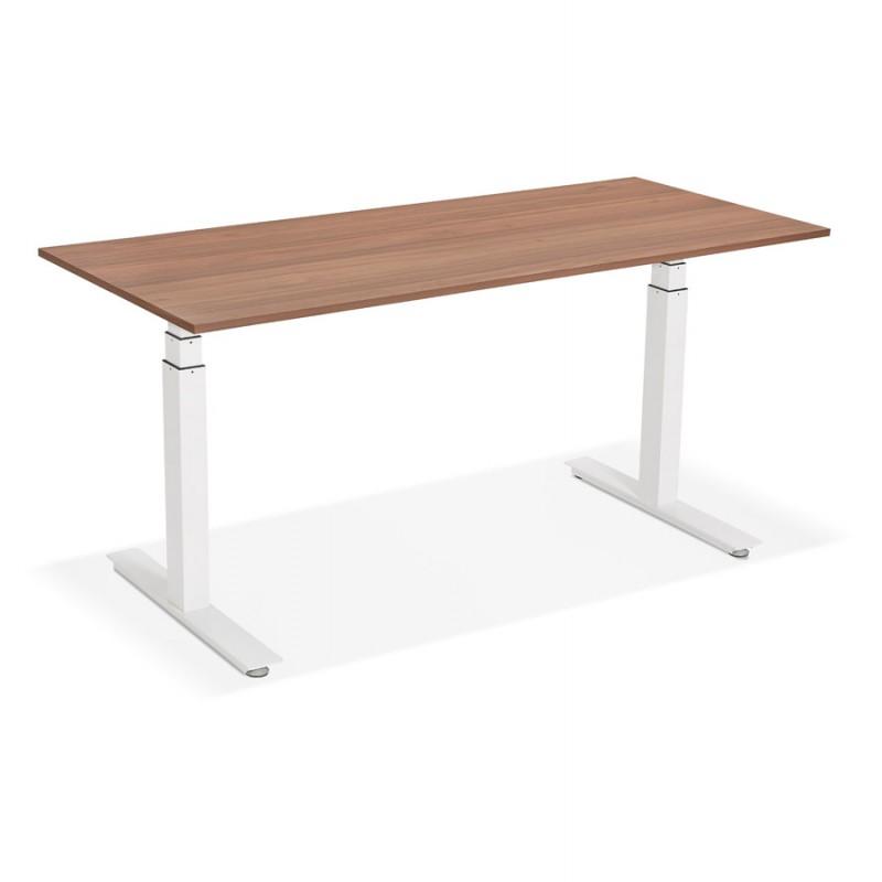 Bureau assis debout électrique en bois pieds blancs KESSY (160x80 cm) (finition noyer) - image 49884