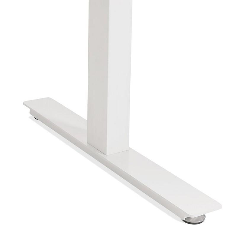 Bureau assis debout électrique en bois pieds blancs KESSY (160x80 cm) (finition noyer) - image 49887