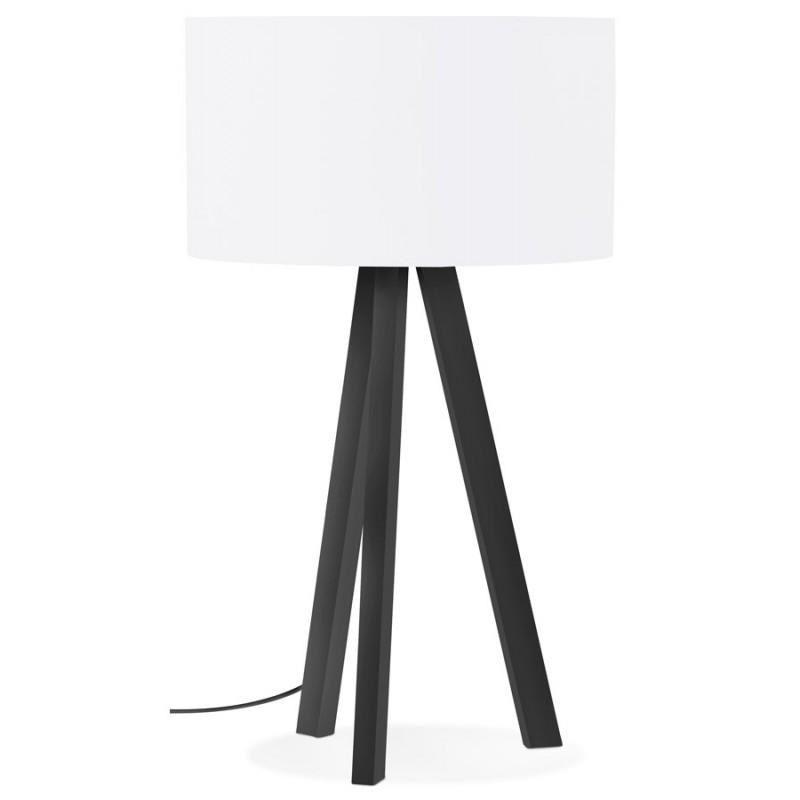 Lampe à poser design avec abat-jour sur trépied noir TRANI MINI (blanc)