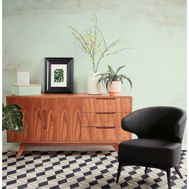 Buffet enfilade design 2 portes 3 tiroirs en bois  MELINA (noir) - image 49986
