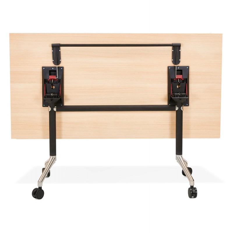 Table pliante sur roulettes en bois pieds noirs SAYA (160x80 cm) (finition naturelle) - image 49992