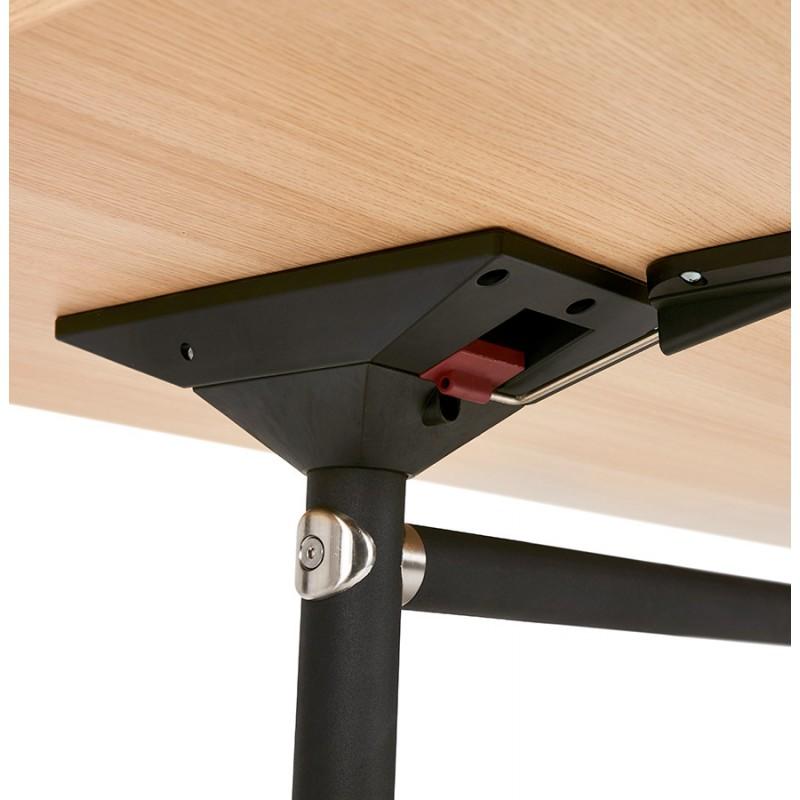 Table pliante sur roulettes en bois pieds noirs SAYA (160x80 cm) (finition naturelle) - image 49997