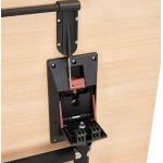 Table pliante sur roulettes en bois pieds noirs SAYA (160x80 cm) (finition naturelle)