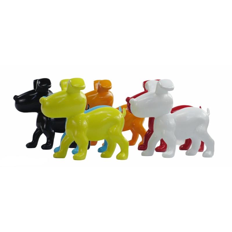 Conjunto de 6 esculturas de perros de diseño en resina (multicolor) - image 50027