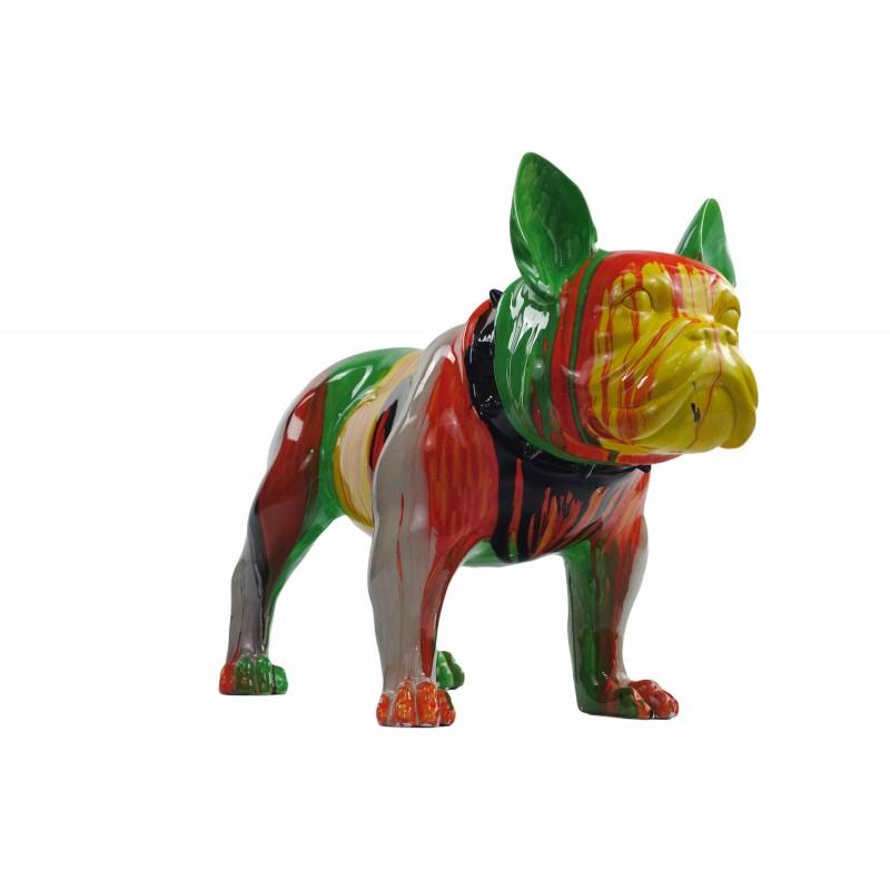 Statue sculpture décorative design CHIEN en résine H43 (multicolore) - image 50047