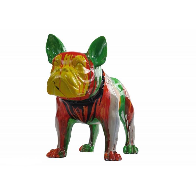 Statue sculpture décorative design CHIEN en résine H43 (multicolore) - image 50049