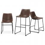 Tabouret de bar chaise de bar mi-hauteur vintage JOE MINI (marron)