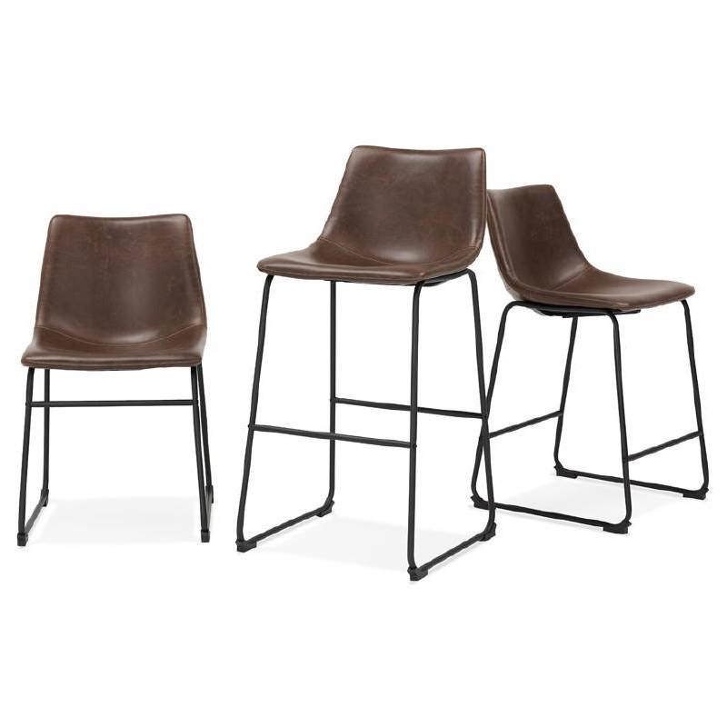 Tabouret de bar chaise de bar mi-hauteur vintage JOE MINI (marron) - image 50114