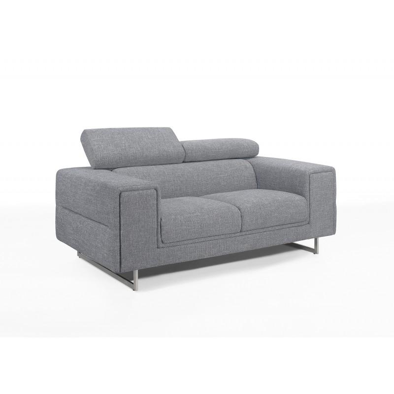 Canapé droit design 2 places avec têtières CYPRIA en tissu (gris) - image 50116